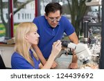 dental technician or apprentice ... | Shutterstock . vector #124439692