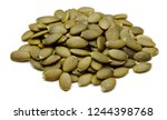 heap of peeled pumpkin seeds... | Shutterstock . vector #1244398768