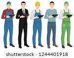 set of men with a digital... | Shutterstock .eps vector #1244401918