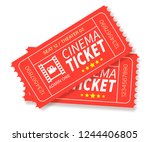 cinema tickets. two red ticket .... | Shutterstock .eps vector #1244406805