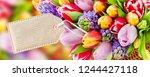 springtime flowers and basket...   Shutterstock . vector #1244427118