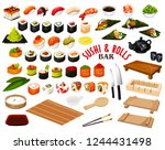 sushi and rolls from japanese... | Shutterstock .eps vector #1244431498