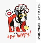 cartoon dog with slogan and... | Shutterstock .eps vector #1244451148