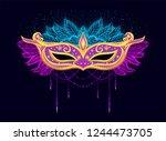 carnival mask for woman s face. ... | Shutterstock .eps vector #1244473705