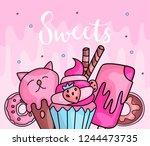cute funny girl teenager...   Shutterstock .eps vector #1244473735