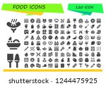 vector icons pack of 120 filled ... | Shutterstock .eps vector #1244475925