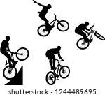silhouette of male doing bike... | Shutterstock .eps vector #1244489695