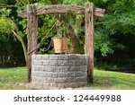 old water well with pulley and... | Shutterstock . vector #124449988