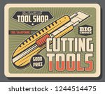 cutting tools retro poster ... | Shutterstock .eps vector #1244514475