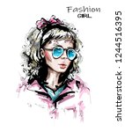 hand drawn woman in sunglasses. ... | Shutterstock .eps vector #1244516395