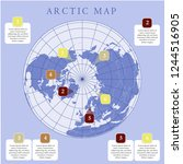 arctic map with countries... | Shutterstock .eps vector #1244516905