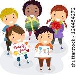 illustration of kids presenting ... | Shutterstock .eps vector #124454272