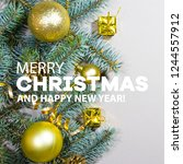 merry christmas and happy new... | Shutterstock . vector #1244557912