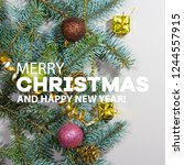merry christmas and happy new... | Shutterstock . vector #1244557915