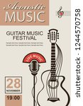 banner with guitar for acoustic ... | Shutterstock .eps vector #1244570758