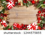 christmas tree branches ... | Shutterstock . vector #1244575855