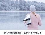 young blond woman in pink... | Shutterstock . vector #1244579575