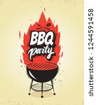bbq.barbecue party poster... | Shutterstock .eps vector #1244591458