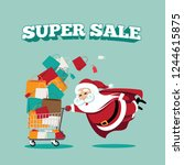christmas super sale template... | Shutterstock .eps vector #1244615875