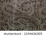 texture of grey genuine leather ... | Shutterstock . vector #1244636305