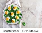deviled eggs with paprika as an ... | Shutterstock . vector #1244636662