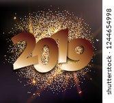 2019 numbers with golden... | Shutterstock .eps vector #1244654998
