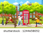 children with there pets park... | Shutterstock .eps vector #1244658052