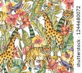 watercolor jungle illustration  ... | Shutterstock . vector #1244680072