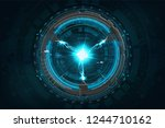 lightning bolt with technology... | Shutterstock .eps vector #1244710162