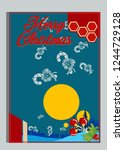 christmas greeting card with... | Shutterstock .eps vector #1244729128