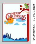 christmas greeting card with... | Shutterstock .eps vector #1244735005