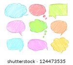 set of  sketchy bubbles  eps 10 | Shutterstock .eps vector #124473535