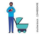 father carrying her baby girl... | Shutterstock .eps vector #1244800498