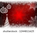 christmas red background with... | Shutterstock .eps vector #1244811625