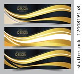 abstract banner gold web header ... | Shutterstock .eps vector #1244819158