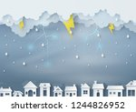 origami made rainy weather... | Shutterstock .eps vector #1244826952