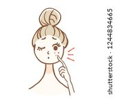 a woman with a skin trouble.... | Shutterstock .eps vector #1244834665