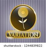 golden emblem or badge with... | Shutterstock .eps vector #1244839822