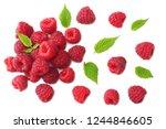 ripe raspberries with green... | Shutterstock . vector #1244846605