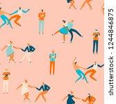 dancing people in 50s retro...   Shutterstock .eps vector #1244846875