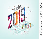 new year party with isometric... | Shutterstock .eps vector #1244847565