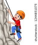 cartoon happy boy climbing rock | Shutterstock .eps vector #1244851075