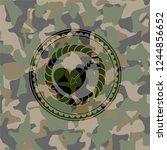love icon inside camo emblem | Shutterstock .eps vector #1244856652