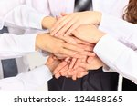 business team putting their... | Shutterstock . vector #124488265