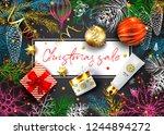 christmas sale vector card.... | Shutterstock .eps vector #1244894272