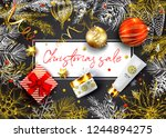 christmas sale vector card.... | Shutterstock .eps vector #1244894275