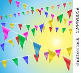 bunting flags blowing in the... | Shutterstock .eps vector #124490056