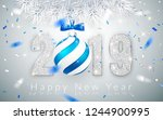 happy new year 2019  silver... | Shutterstock .eps vector #1244900995