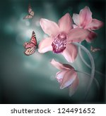Stock photo orchids with a butterfly on the coloured background 124491652