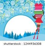 girl on winter shopping  card | Shutterstock .eps vector #1244936308